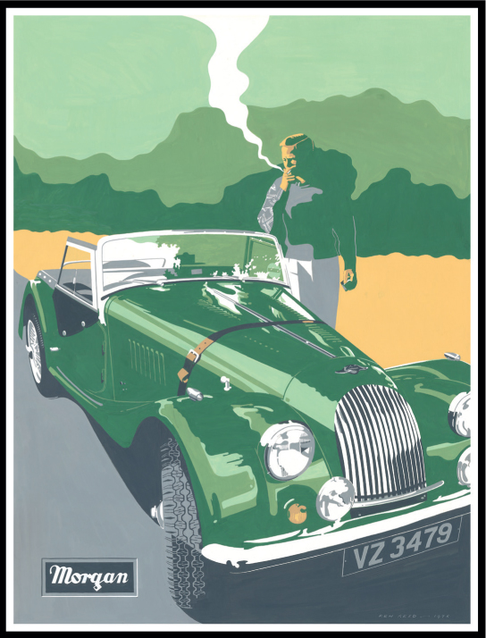 Original poster of Morgan car painted by Ken Reed. Now available as signed edition print